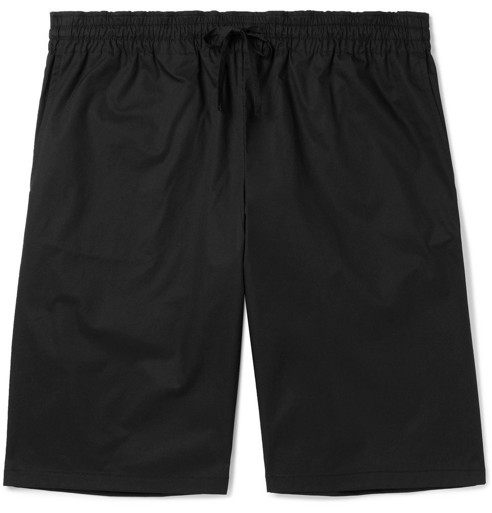 Photo: Bottega Veneta - Wide-Leg Cotton-Blend Twill Drawstring Shorts - Black