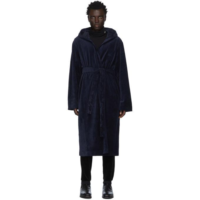 Photo: Boss Navy Velour Hooded Robe