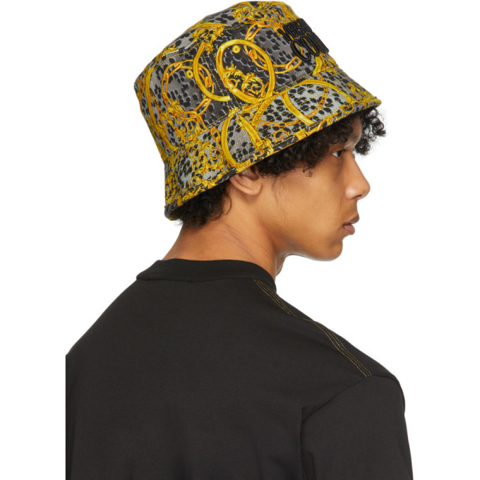 Versace Jeans Couture Grey Leo Chain Print Bucket Hat