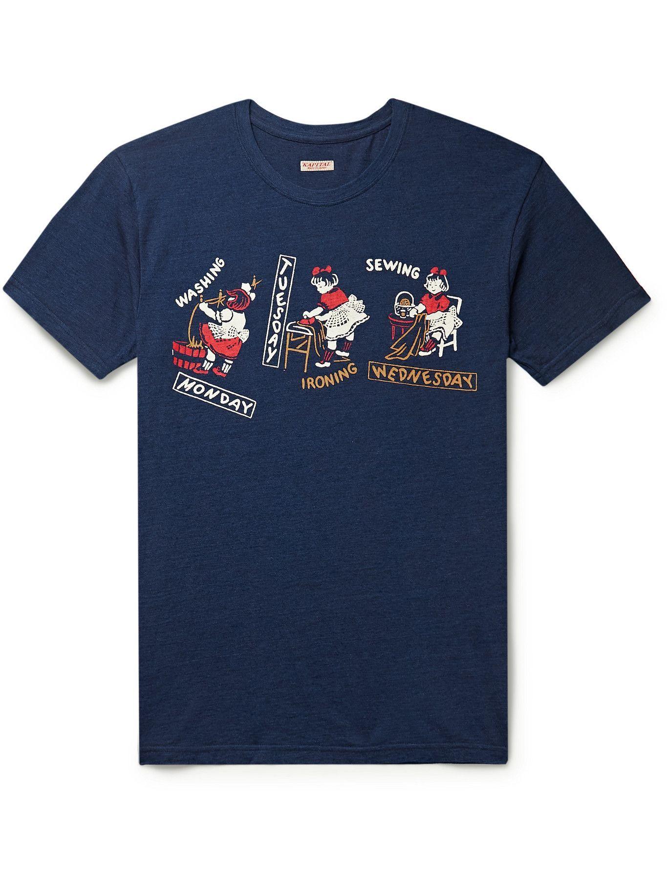 Photo: KAPITAL - Printed Indigo-Dyed Cotton-Jersey T-Shirt - Blue