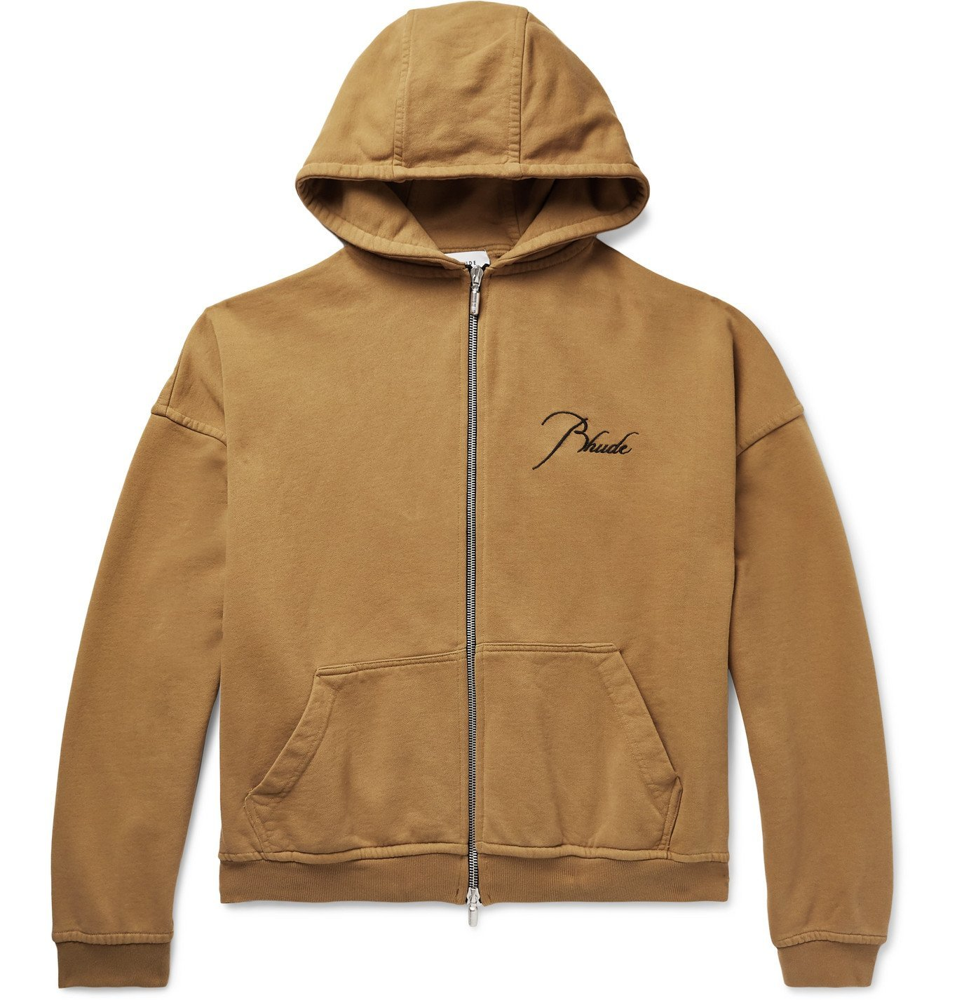 Photo: Rhude - Oversized Logo-Embroidered Loopback Cotton-Jersey Zip-Up Hoodie - Brown