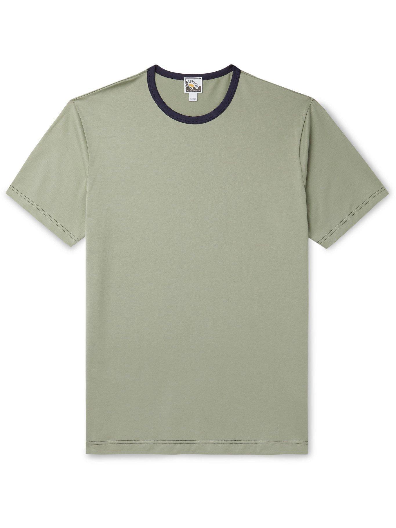 Photo: SUNSPEL - Paul Weller Slim-Fit Contrast-Tipped Cotton-Jersey T-Shirt - Green