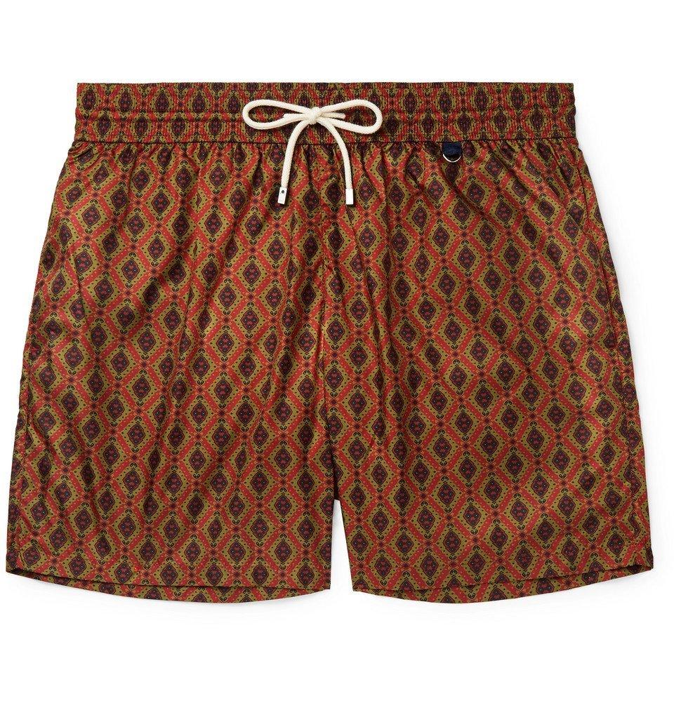 Photo: Rubinacci - Mid-Length Printed Swim Shorts - Red
