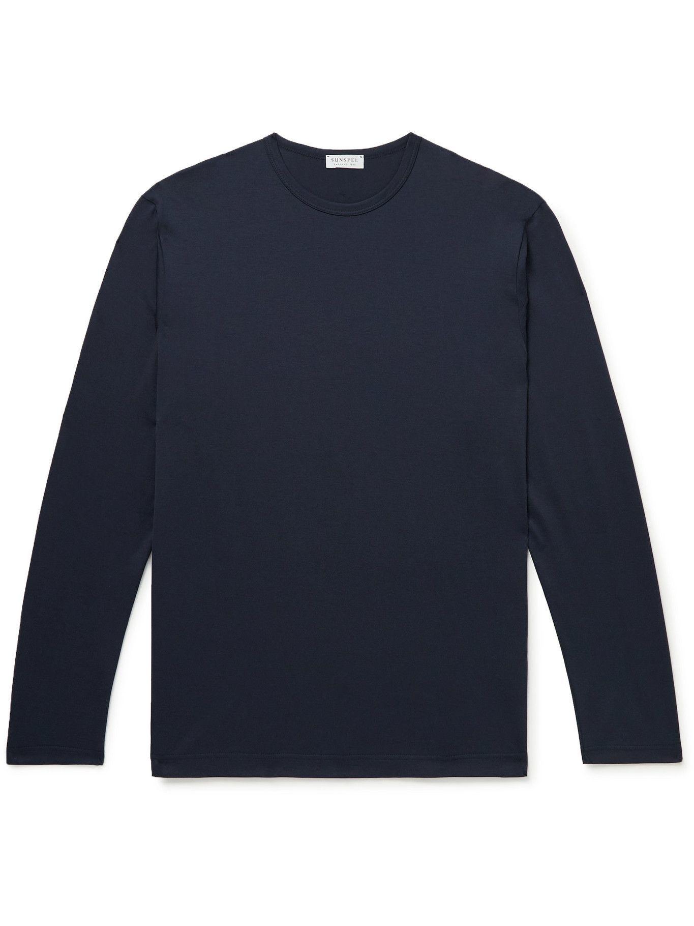Photo: SUNSPEL - Pima Cotton-Jersey T-Shirt - Blue