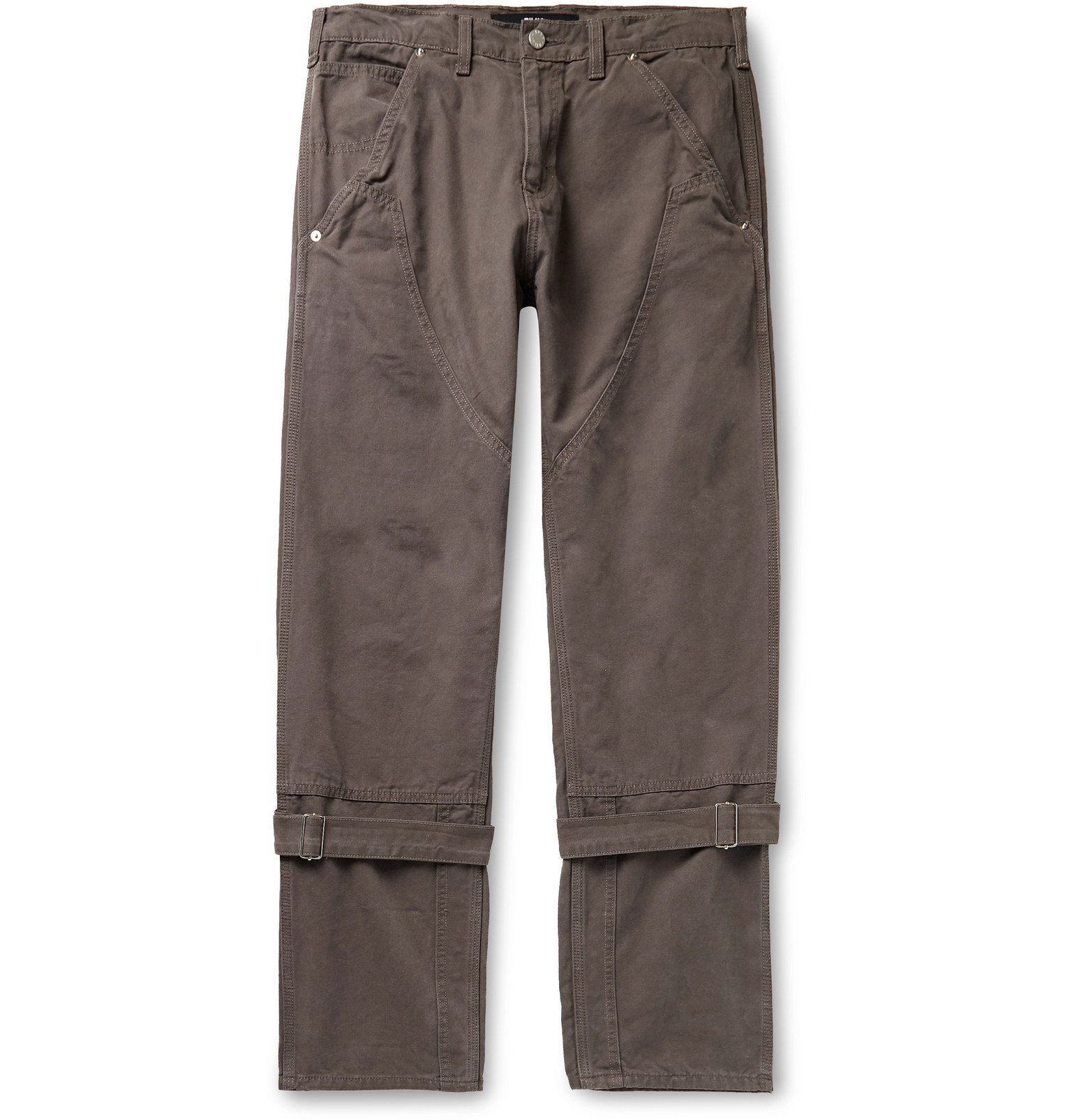 Photo: BILLY - Buckled Cotton-Canvas Trousers - Gray