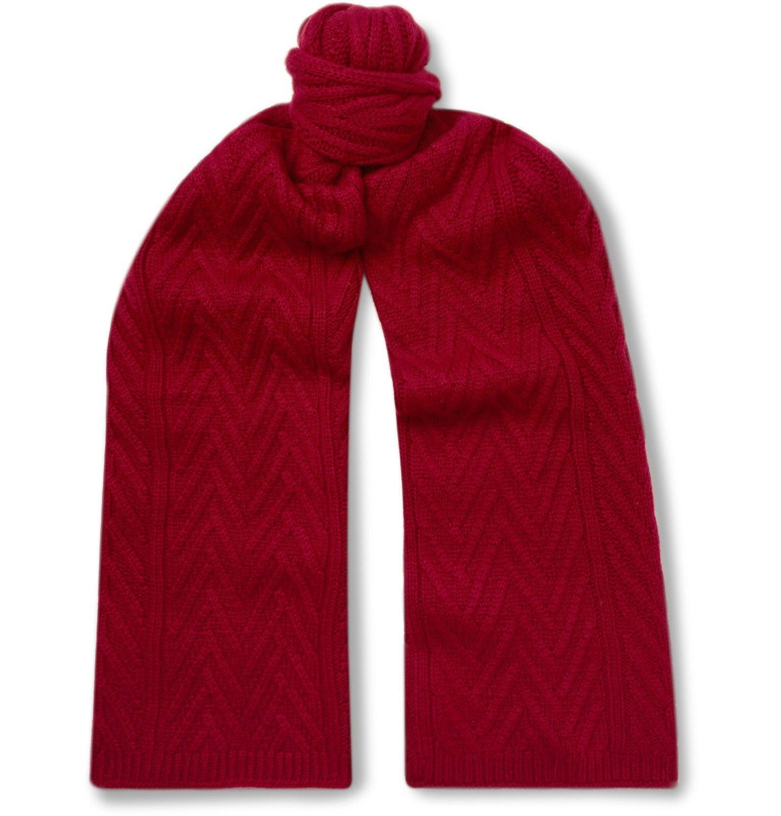 Photo: Loro Piana - Baby Cashmere Cable-Knit Scarf - Red