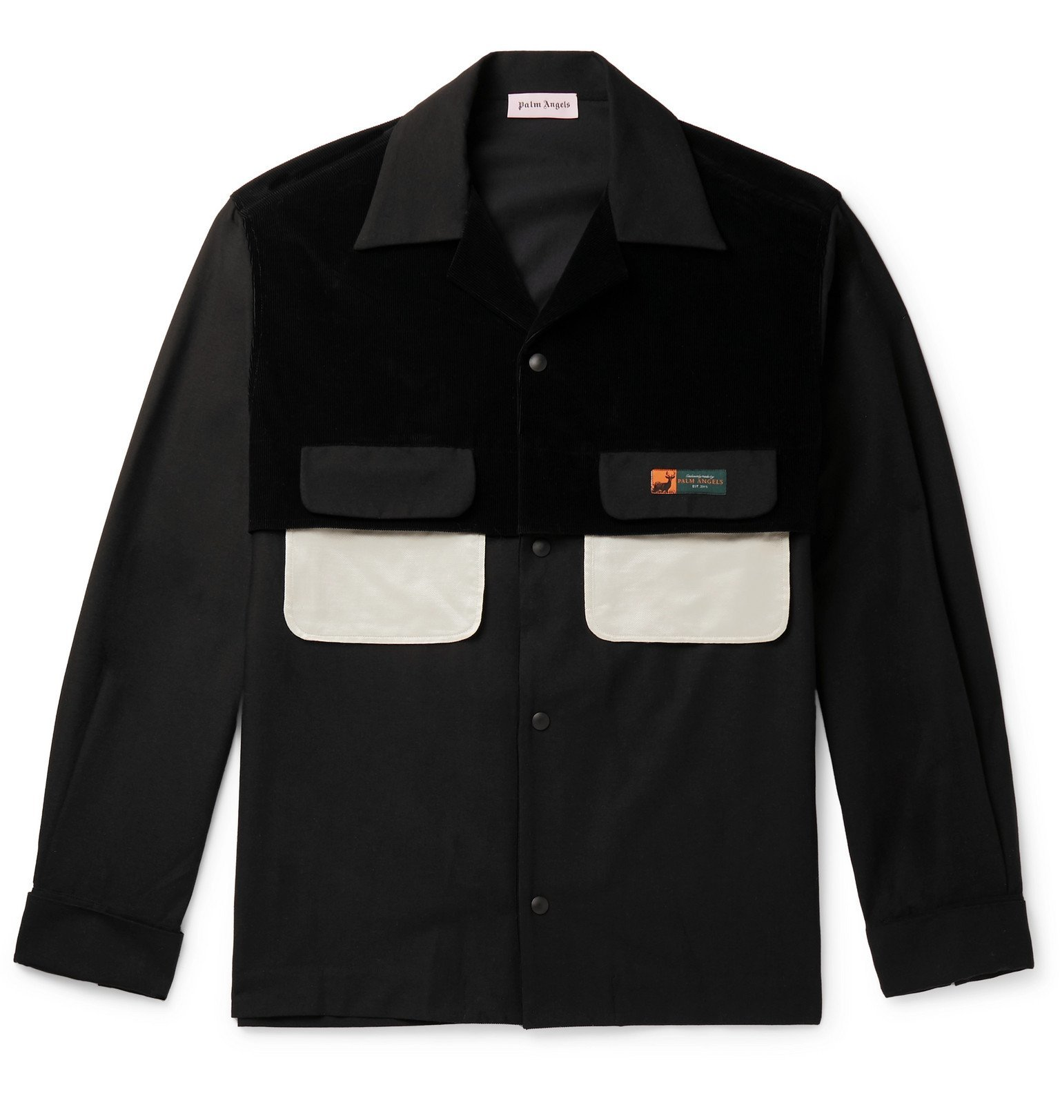 Photo: Palm Angels - Panelled Cotton-Corduroy and Woven Overshirt - Black
