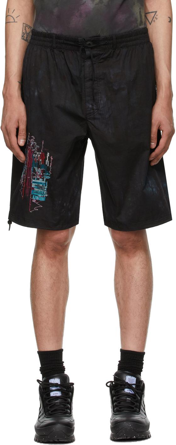 MCQ Black Bruised Tie-Dye Bloomer Shorts