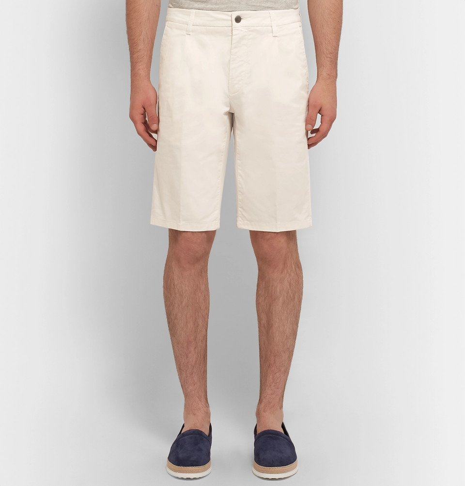 Tod's - Pleated Stretch-Cotton Twill Shorts - Men - Off-white