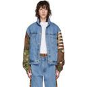 Martine Rose Blue and Brown Denim Shirt Hoodie Jacket