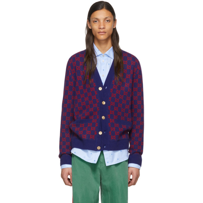 Photo: Gucci Blue and Red GG Cardigan