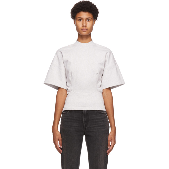 Photo: alexanderwang.t Grey Sculpted Short Sleeve Top