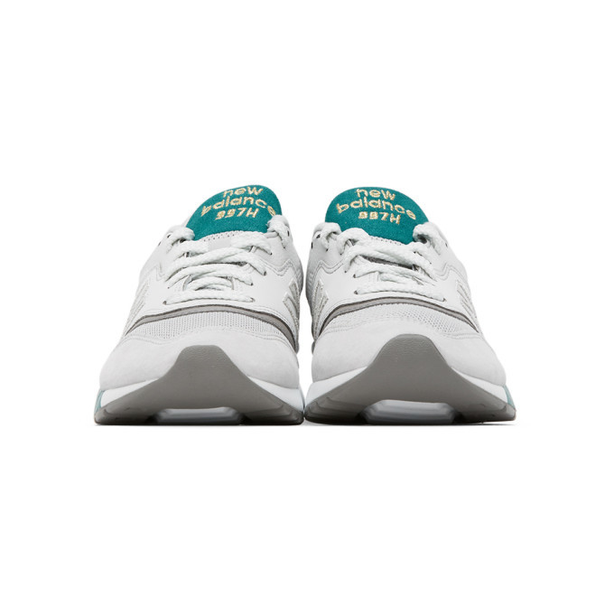 New Balance White and Green 997H Sneakers
