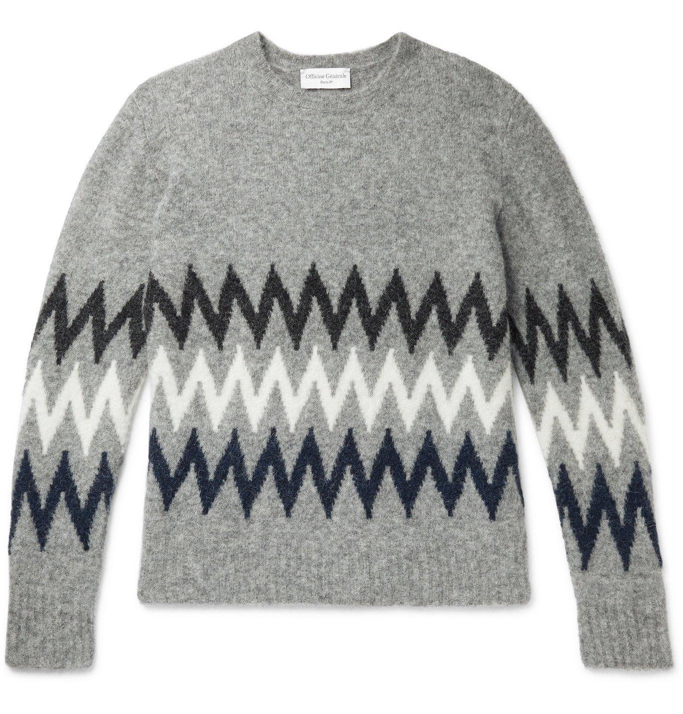 Photo: Officine Générale - Argyle Intarsia Alpaca-Blend Sweater - Gray