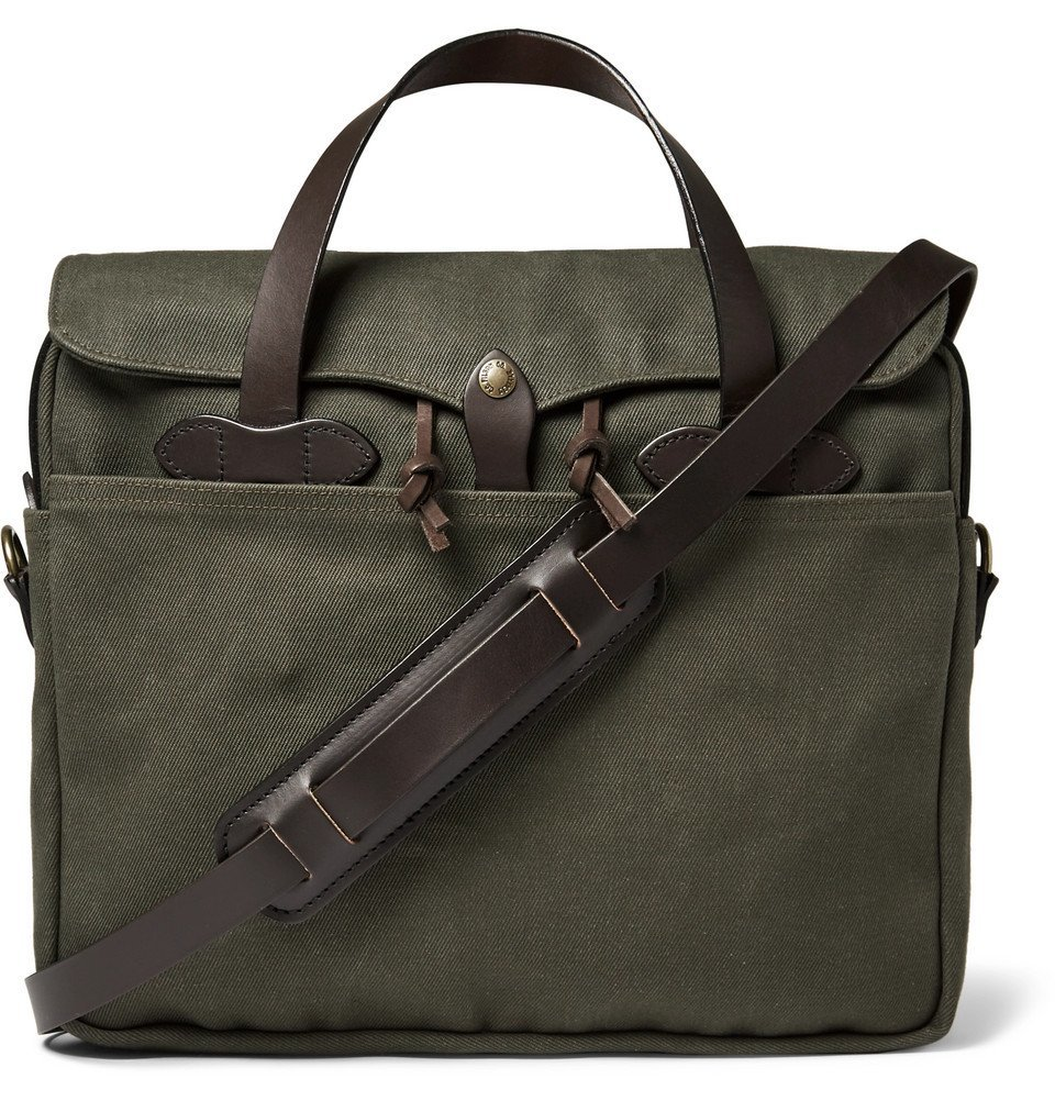 Filson - Original Leather-Trimmed Twill Briefcase - Men - Green