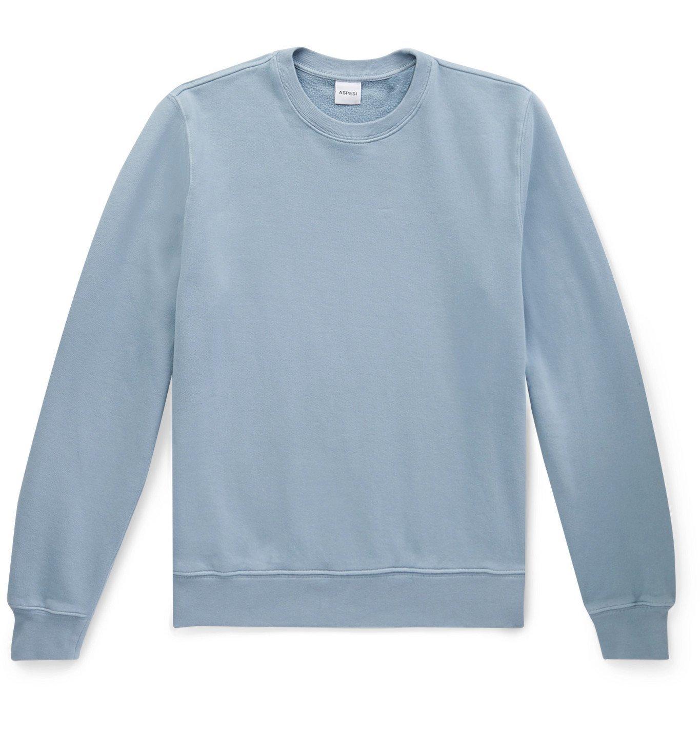 Photo: Aspesi - Loopback Cotton-Jersey Sweatshirt - Blue