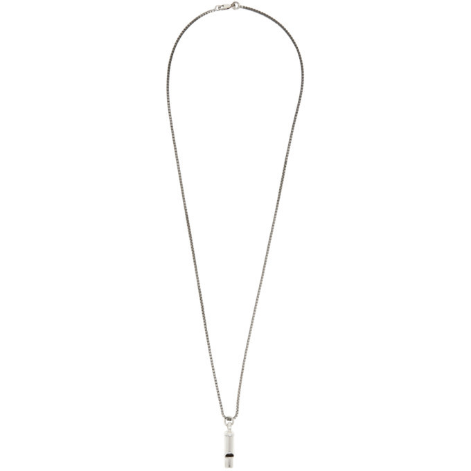 Bottega Veneta Silver Antique Whistle Pendant Necklace