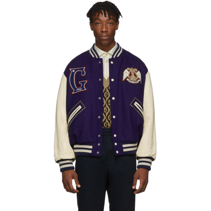 Photo: Gucci Blue and Off-White Gucci Band Varsity Jacket