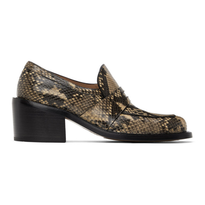 Photo: Dries Van Noten Beige and Black Snake Heeled Loafers