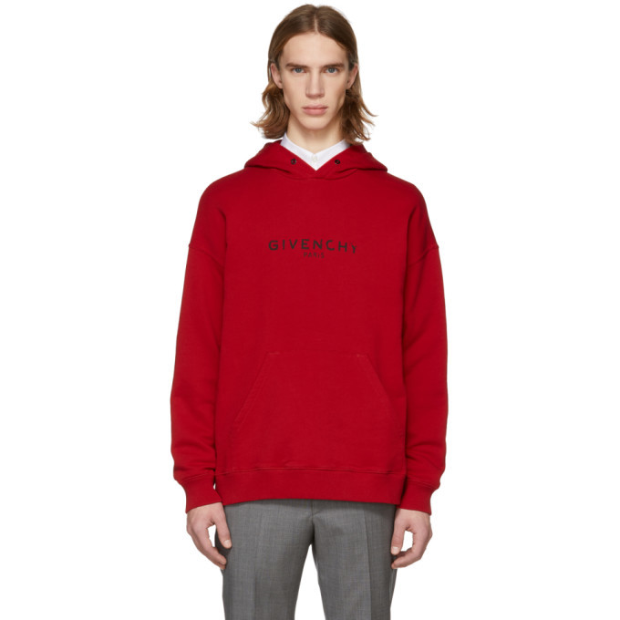 Photo: Givenchy Red Vintage Logo Hoodie