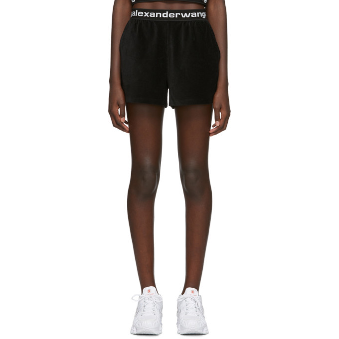 Photo: alexanderwang.t Black Corduroy Logo Shorts