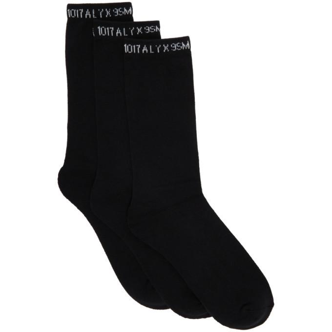 1017 ALYX 9SM Three-Pack Black Logo Socks