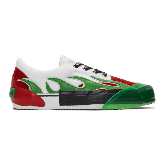 Photo: Palm Angels Green and Red Flame Sneakers