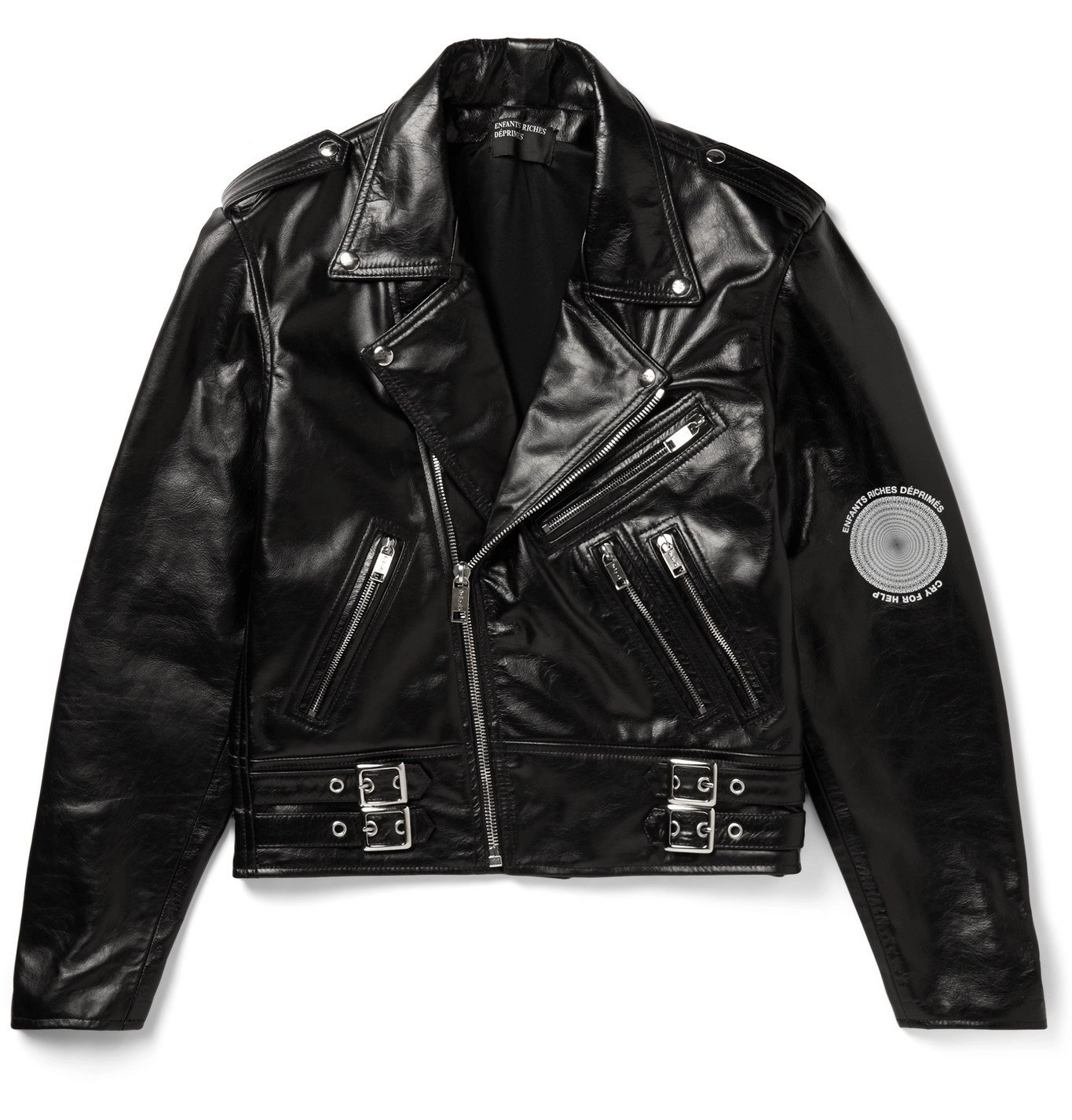 Photo: Enfants Riches Déprimés - Printed Leather Biker Jacket - Black
