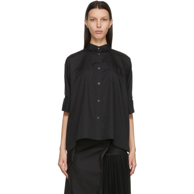 Sacai Black Poplin Back Drape Shirt