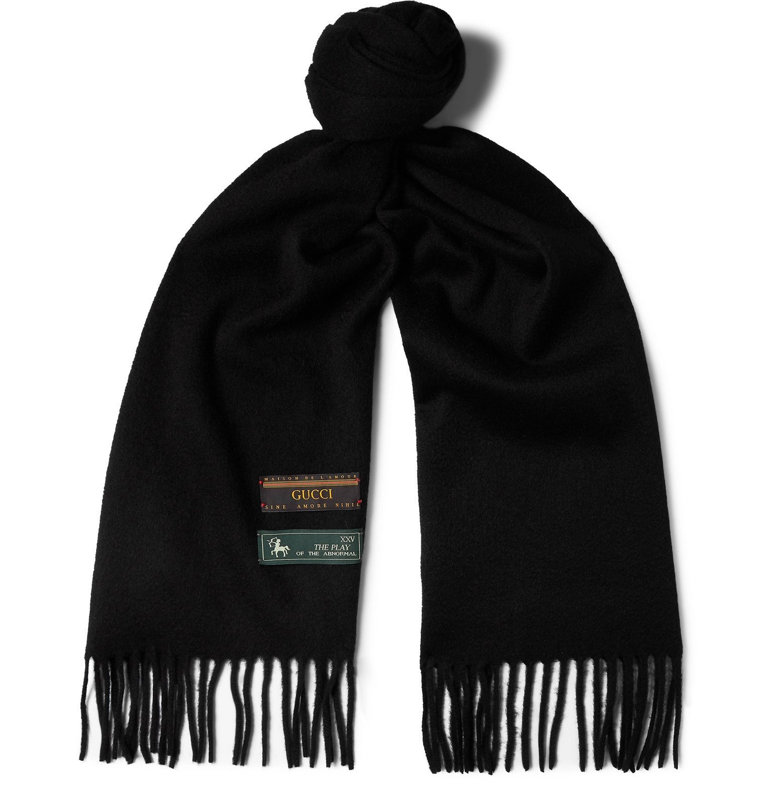 Gucci - Fringed Wool and Cashmere-Blend Scarf - Black