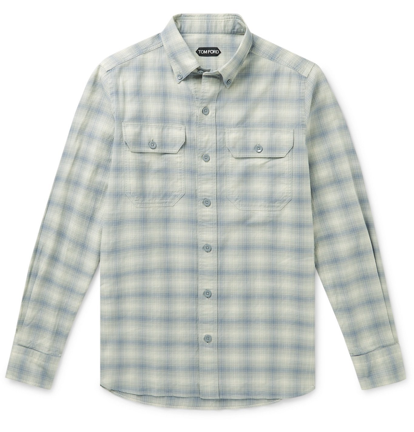 Photo: TOM FORD - Slim-Fit Button-Down Collar Checked Washed Cotton-Flannel Shirt - Gray