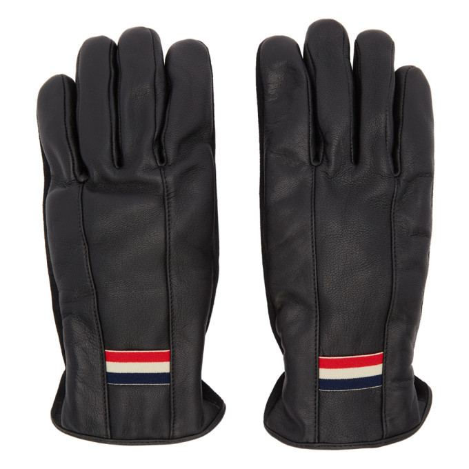 Photo: Moncler Black Leather Guanti Gloves