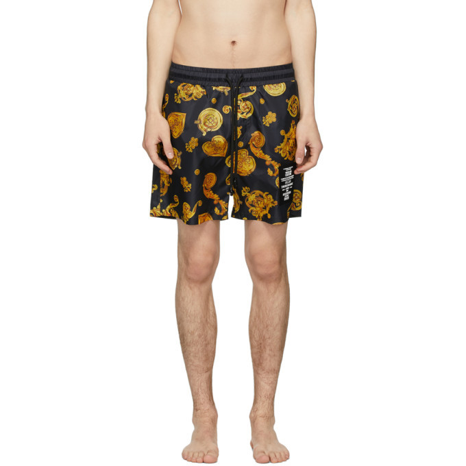 Photo: Versace Jeans Couture Black and Yellow Baroque Shorts