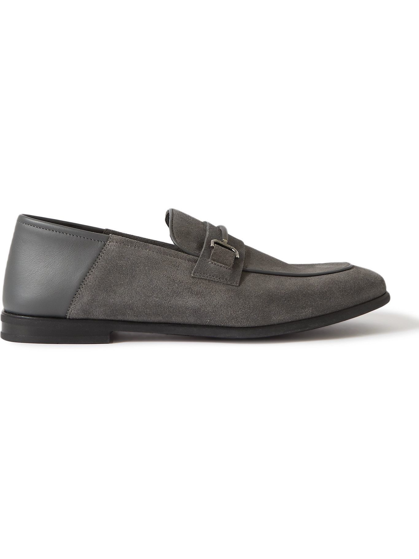 DUNHILL - Chiltern Suede and Leather Loafers - Gray