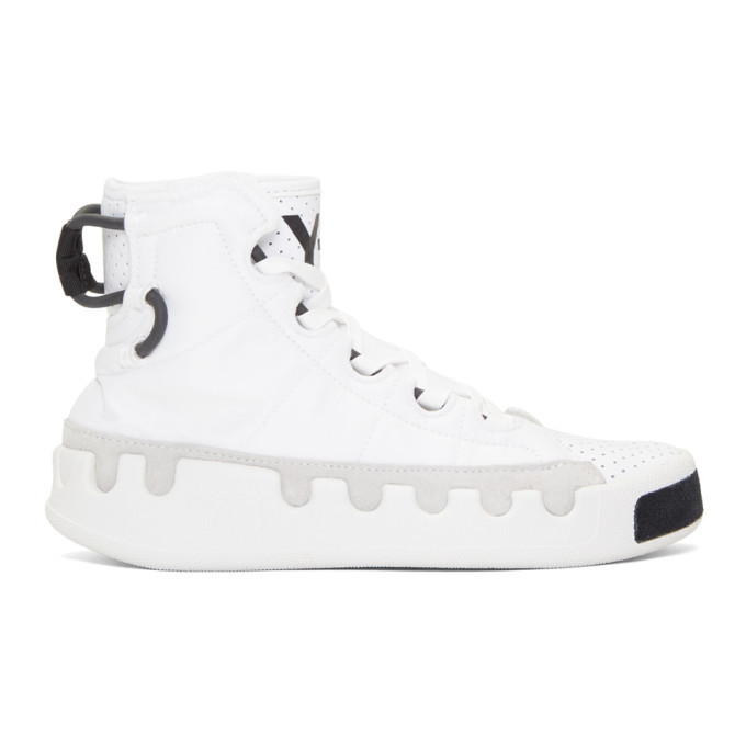Photo: Y-3 White Kasabaru High-Top Sneakers