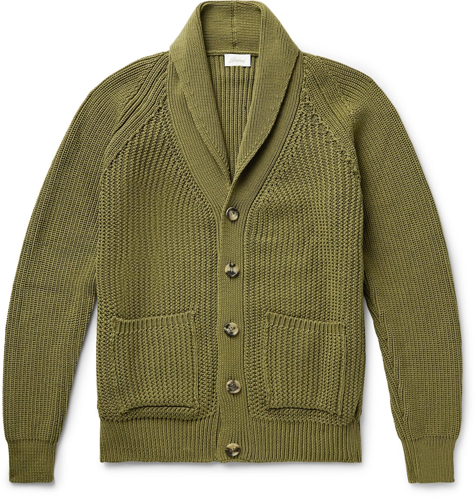 Photo: Brioni - Shawl-Collar Ribbed Cotton Cardigan - Green