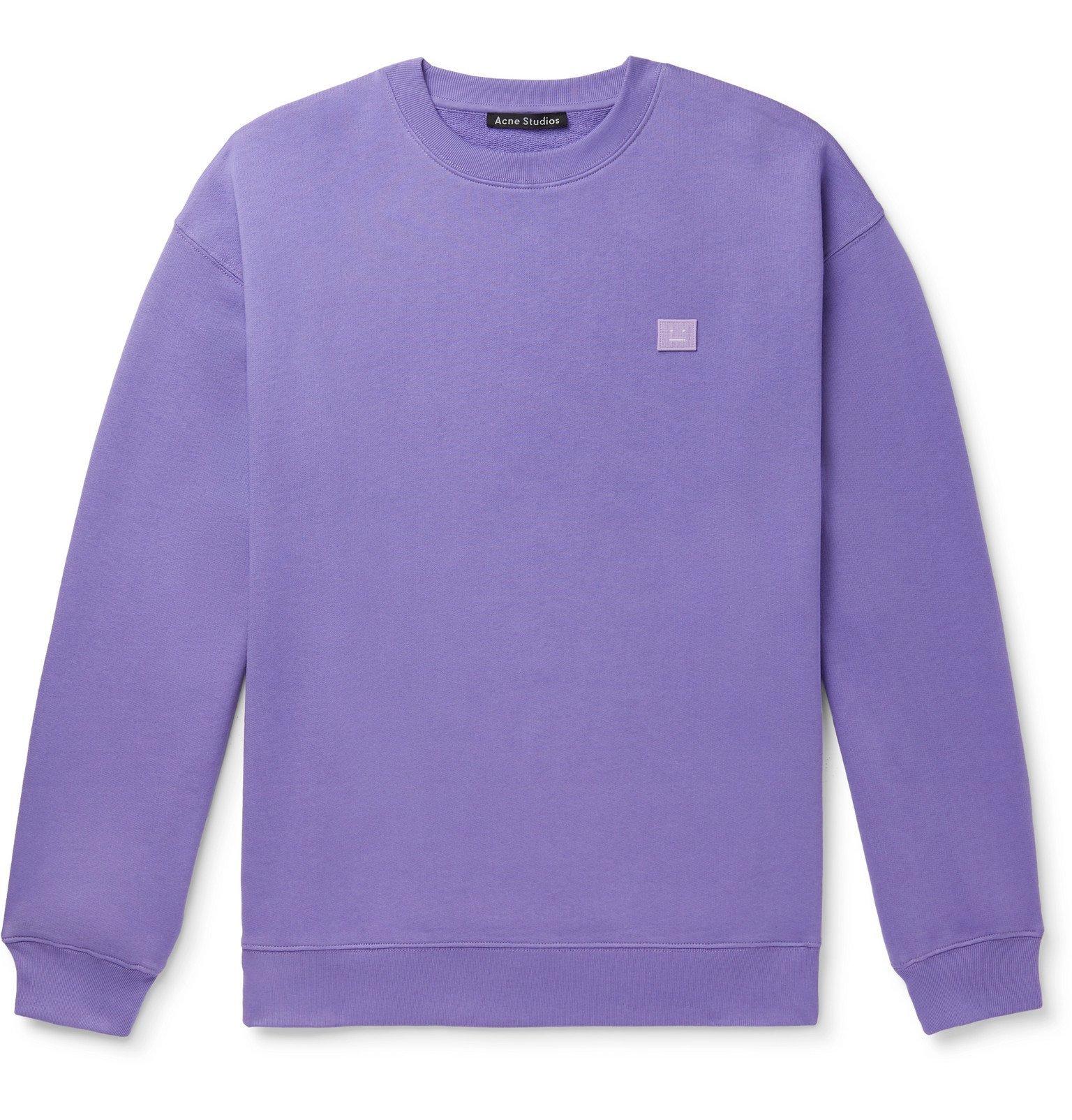 Acne Studios - Forba Oversized Logo-Appliquéd Mélange Loopback Cotton-Jersey Sweatshirt - Purple