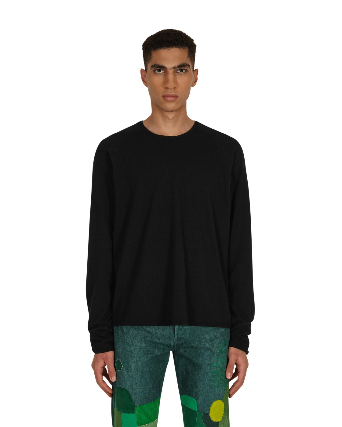 Kapital Jersey X Gauze Jersey Chef Smilie Patch Longsleeve T Shirt Black