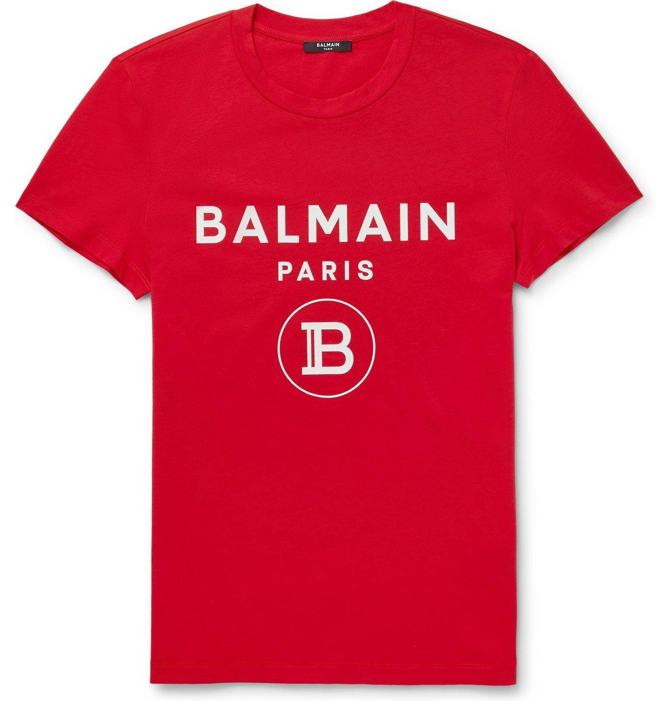 Photo: Balmain - Slim-Fit Logo-Flocked Cotton-Jersey T-Shirt - Red