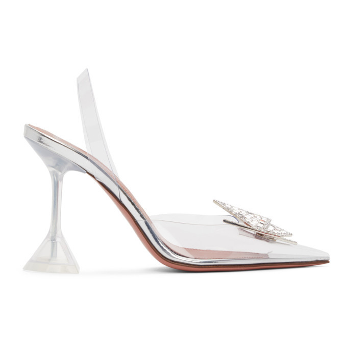 Amina Muaddi Transparent AWGE Edition Phoenix Sling Heels