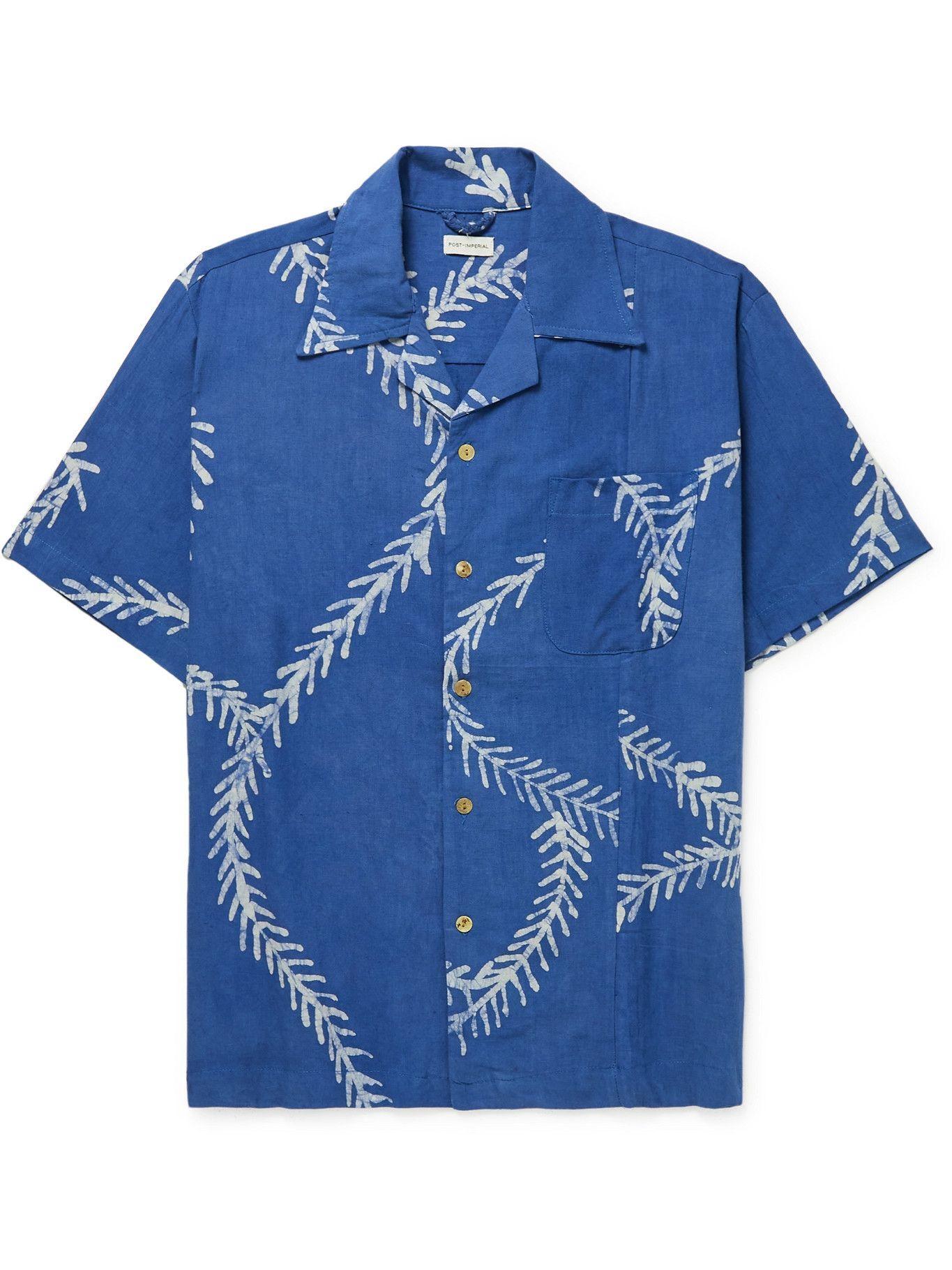 Photo: Post-Imperial - Ijebu Camp-Collar Printed Cotton Shirt - Blue