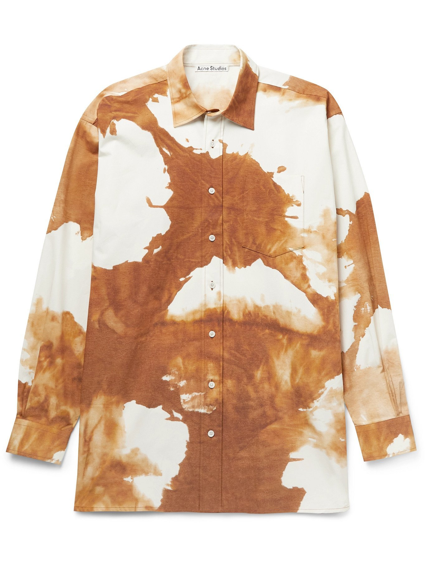 Photo: ACNE STUDIOS - Atlent Oversized Tie-Dyed Stretch-Cotton Poplin Shirt - Brown - IT 48