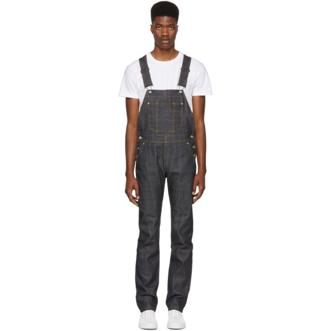 Photo: Naked and Famous Denim Blue Twill Selvedge Denim Overalls