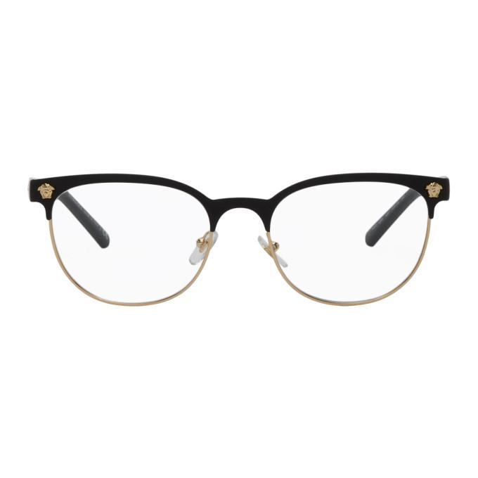 Versace Black and Gold Half-Rim Medusa Glasses