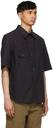 Margaret Howell Black Odd Pocket Short Sleeve Shirt
