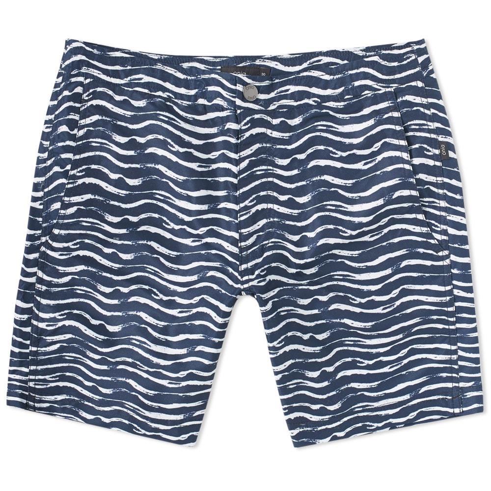 "Photo: Onia Calder 7.5"" Painted Waves Swim Short Blue"