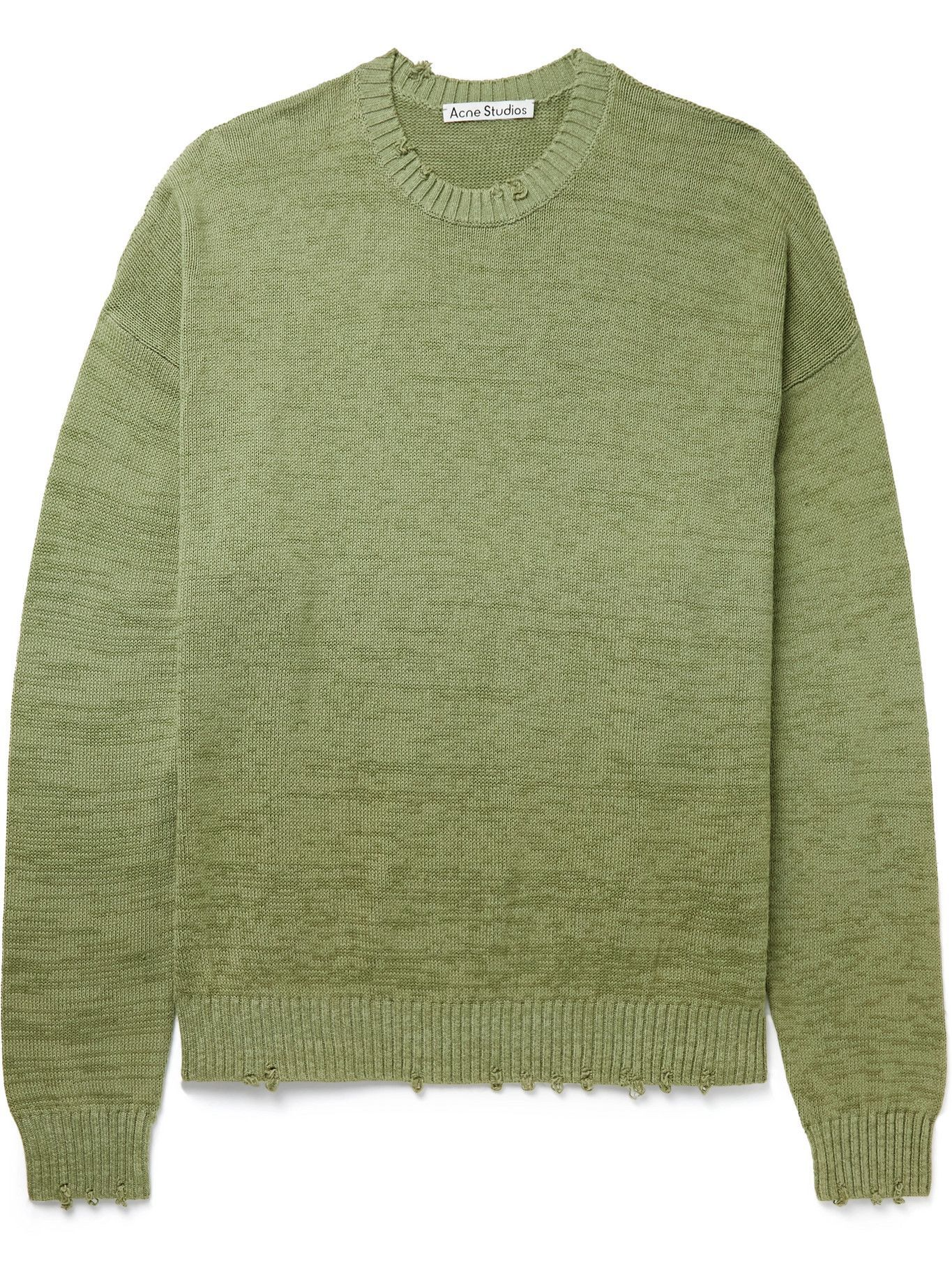 Photo: Acne Studios - Distressed Garment-Dyed Cotton Sweater - Green