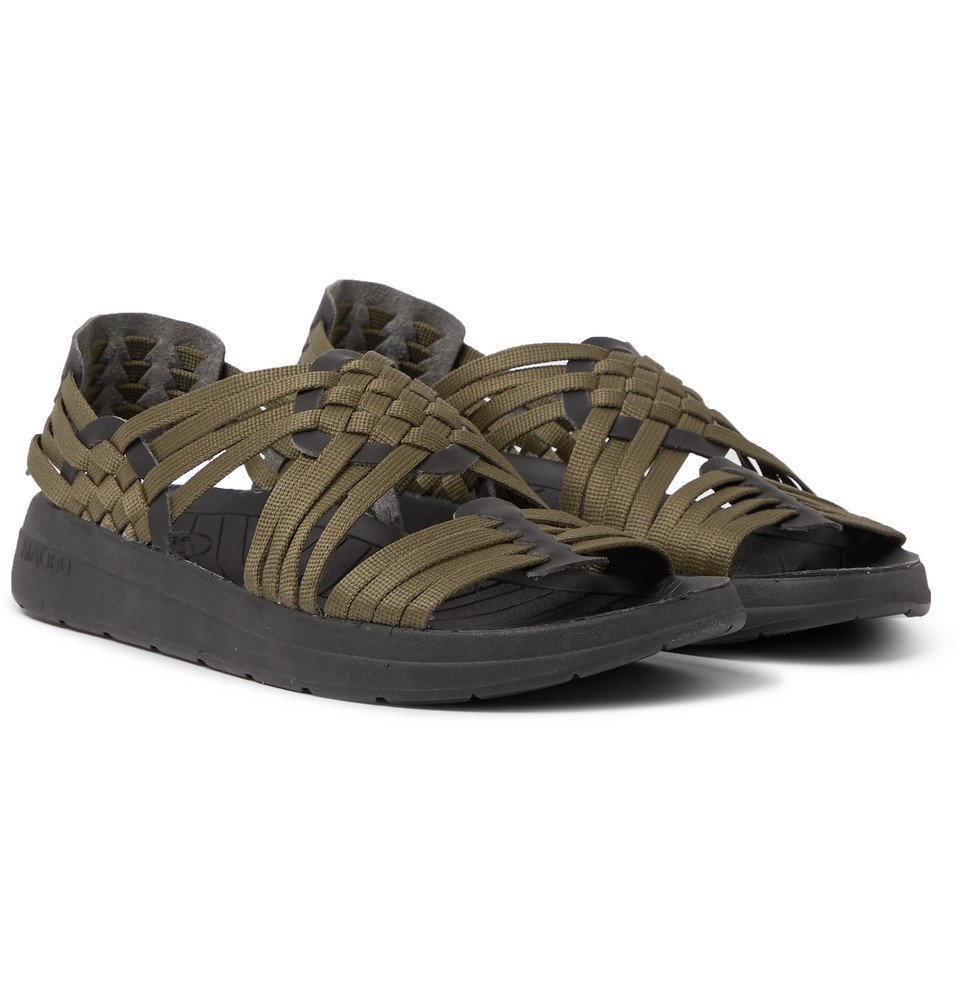 Photo: Malibu - Canyon Woven Nylon-Webbing and Faux Leather Sandals - Army green