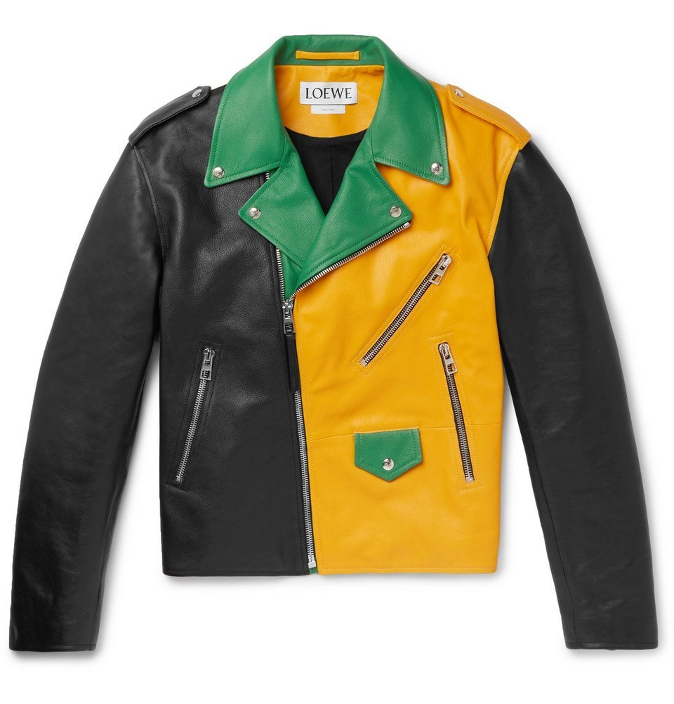 Photo: Loewe - Oversized Colour-Block Leather Biker Jacket - Men - Black