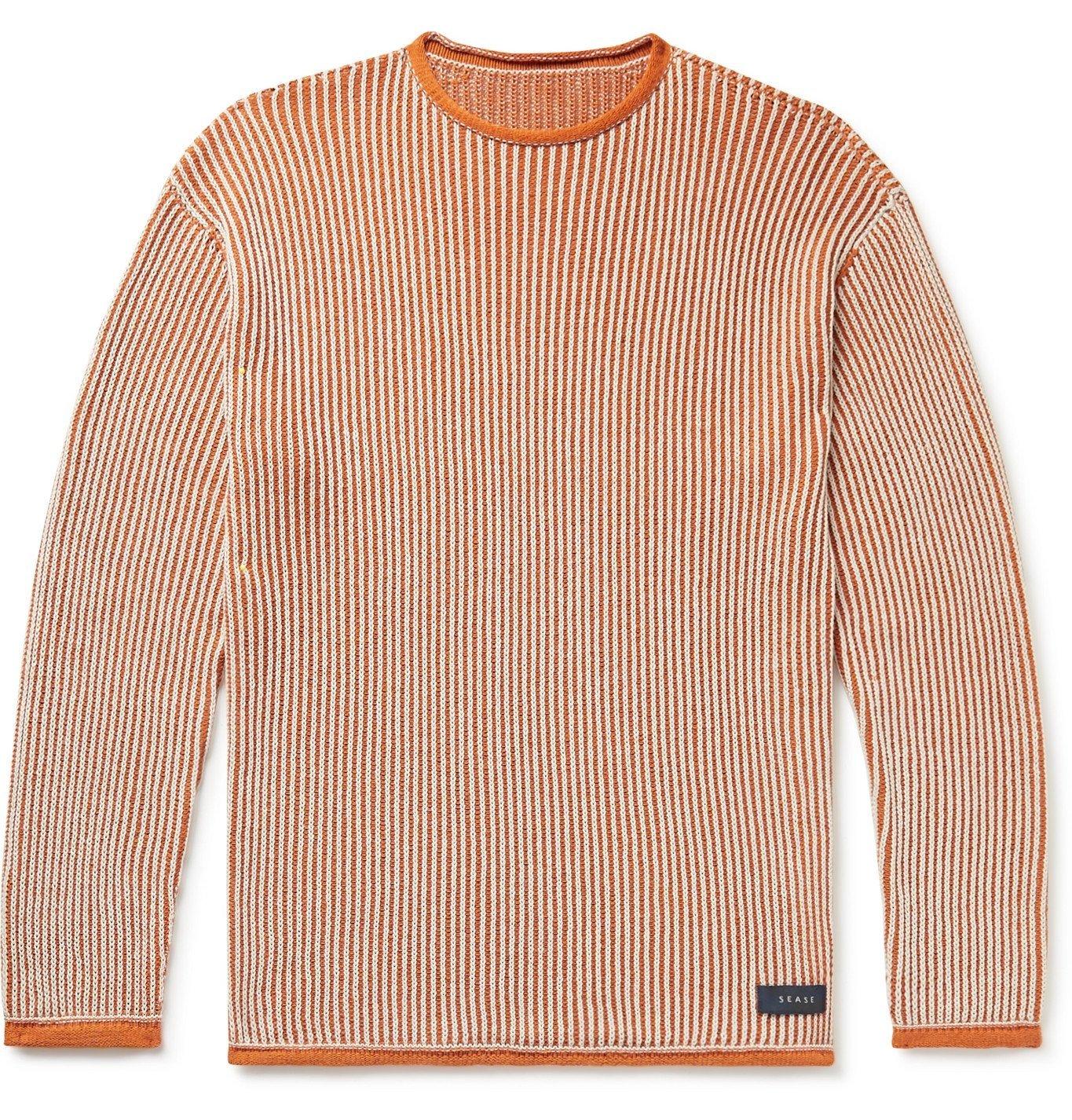 Photo: Sease - Ketch Slim-Fit Ribbed Cotton Sweater - Orange